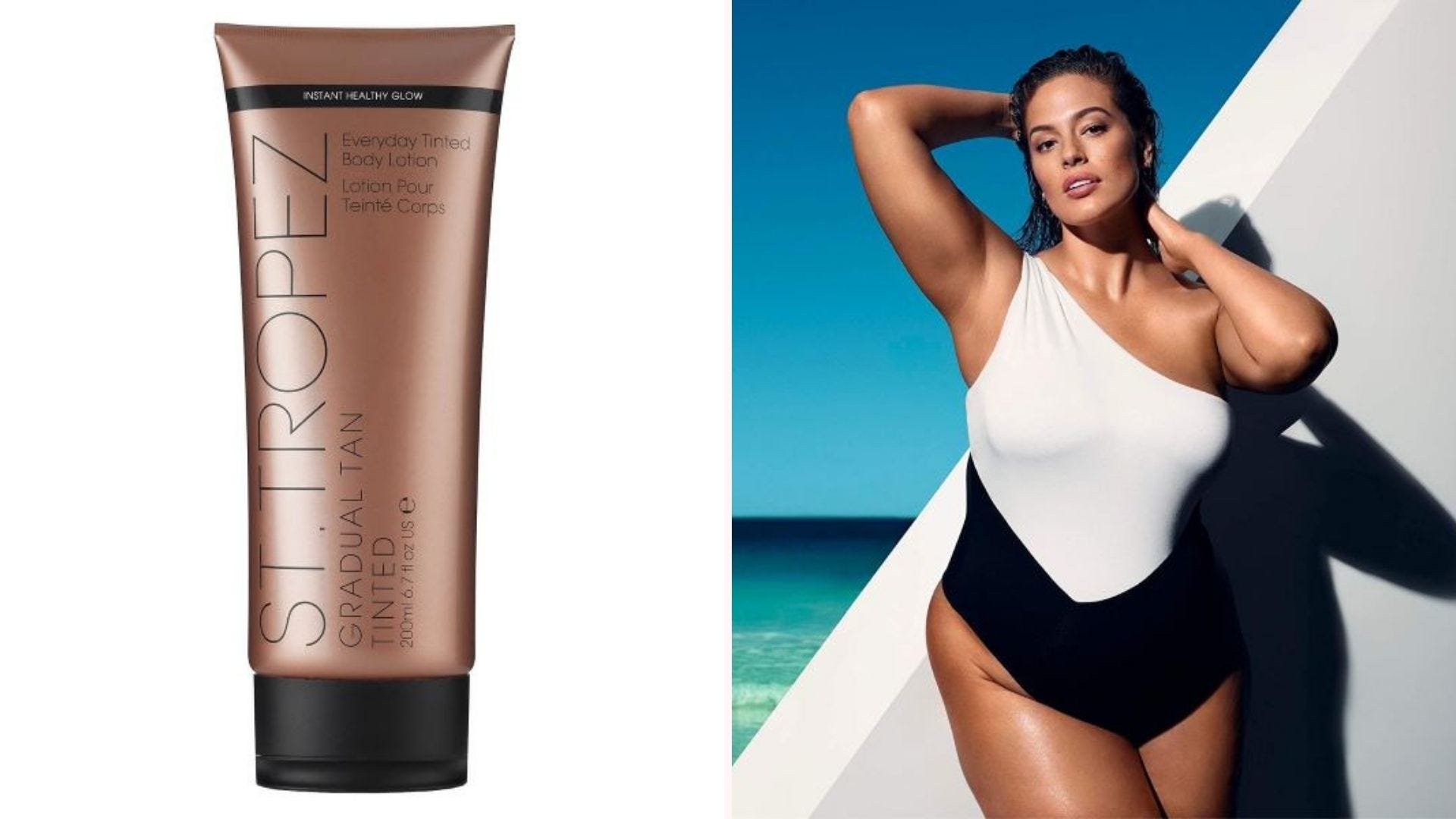 A large tube of St, Tropez Gradual Tan Body Lotion and a tan woman in a swimsuit at the beach.