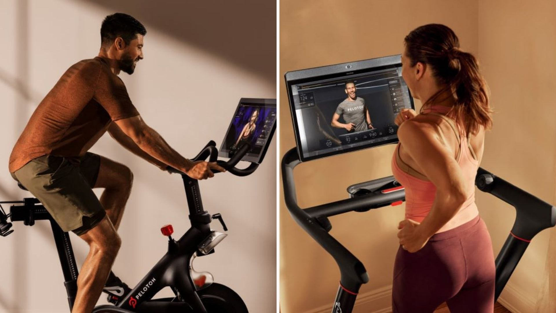 A man and woman cycling at home on Pelotons.