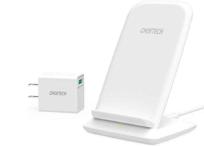 stand up white iPhone SE wireless charger and wall plug