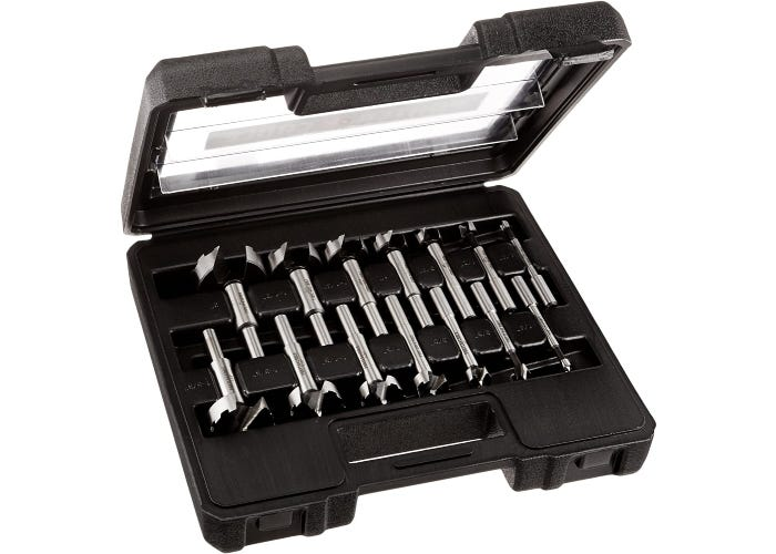 black tool case open to show the Forstner bits inside