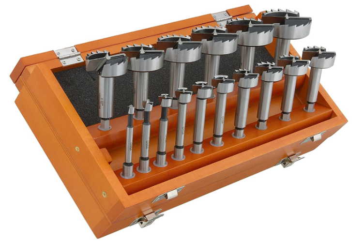 orange toolbox with upright Forstner bits on top