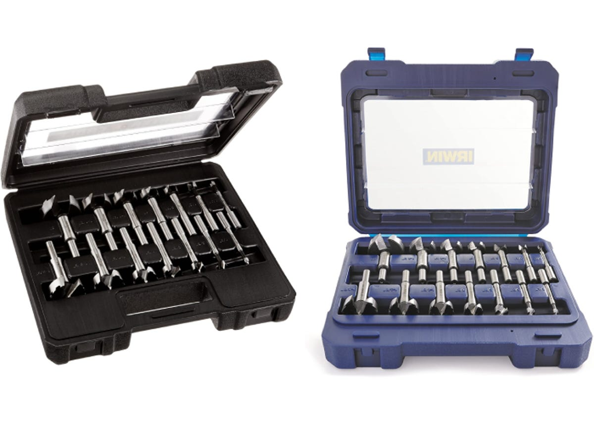 two tool cases of Forstner bits side by side
