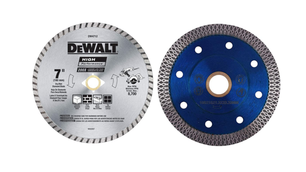 two concrete saw blades side by side