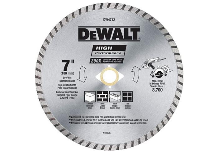 metallic silver DeWALT concrete blade