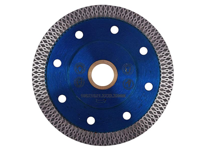 deep blue concrete saw blade with a textured gray edge