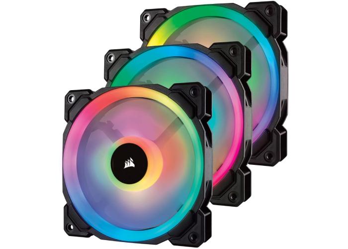 three multicolored RGB fans