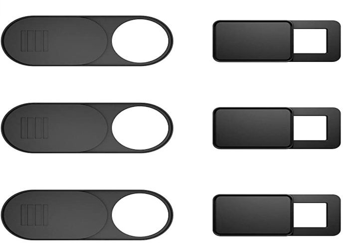 six dark gray laptop camera covers, three cylindrical and three square