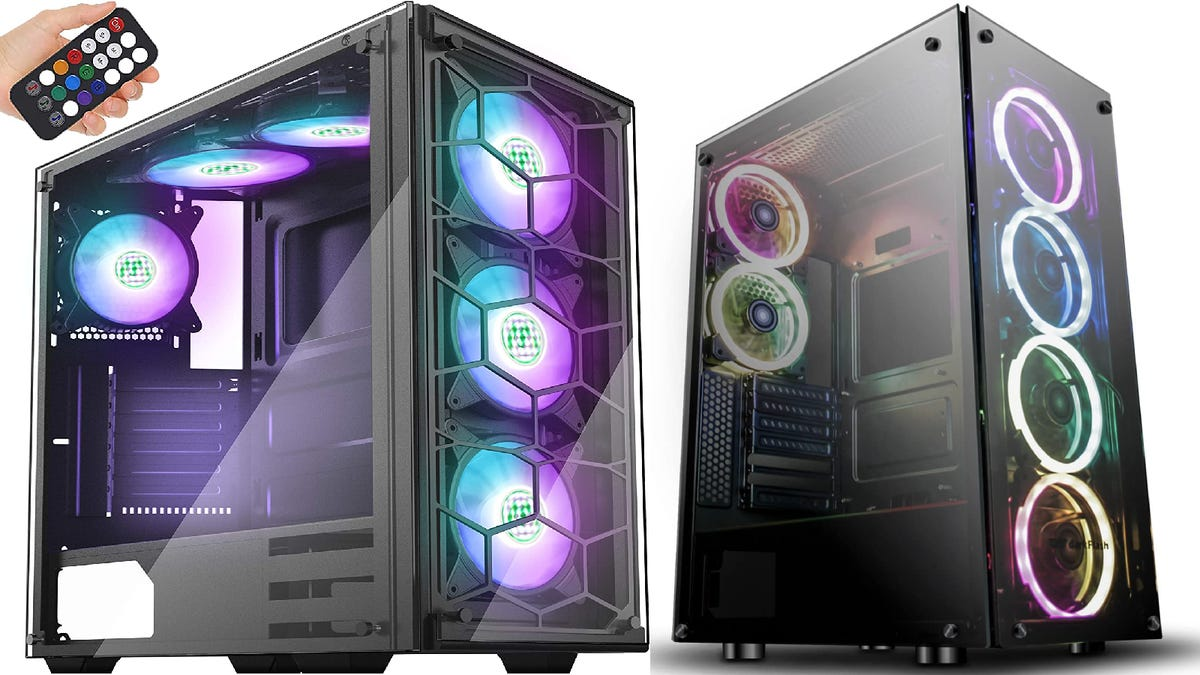 two RGB cases sitting next to each other with a hand holding a remote to control one