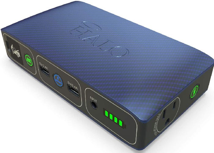 dark gray laptop battery pack with a blue top