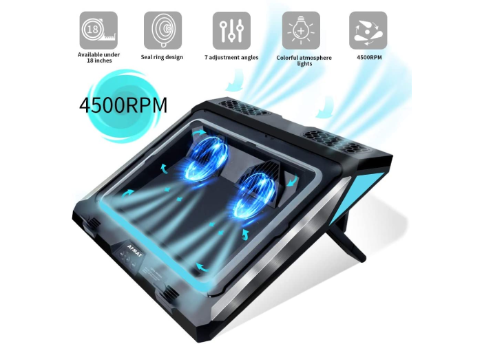 propped up black laptop cooling pad with two blue lit fans