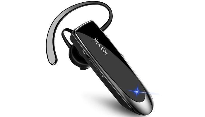 classic, single ear, black Bluetooth device with an ear hook