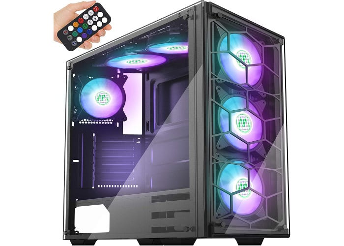 an RGB case with a lot of ventilation and purple and blue lighting