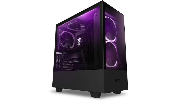 an RGB case with purple lighting inside