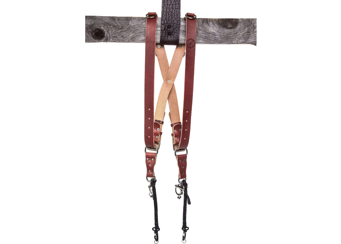 brown leather camera harness