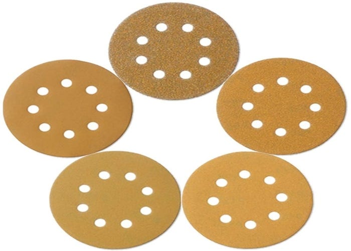 circle of five perforated sanding discs