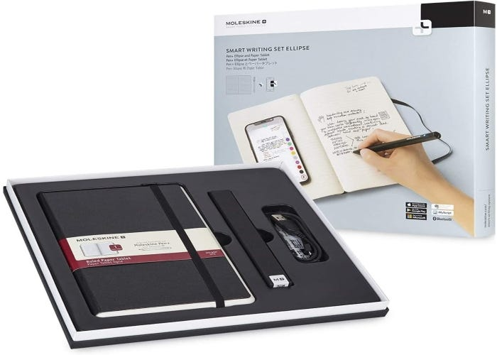 black smartpen with a matching notebook and portable drawing desk