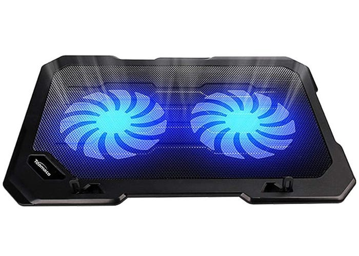 black flat-edged laptop cooling pad with two large fans