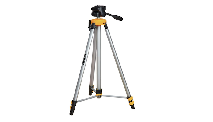 metal laser tripod with black and yellow accents