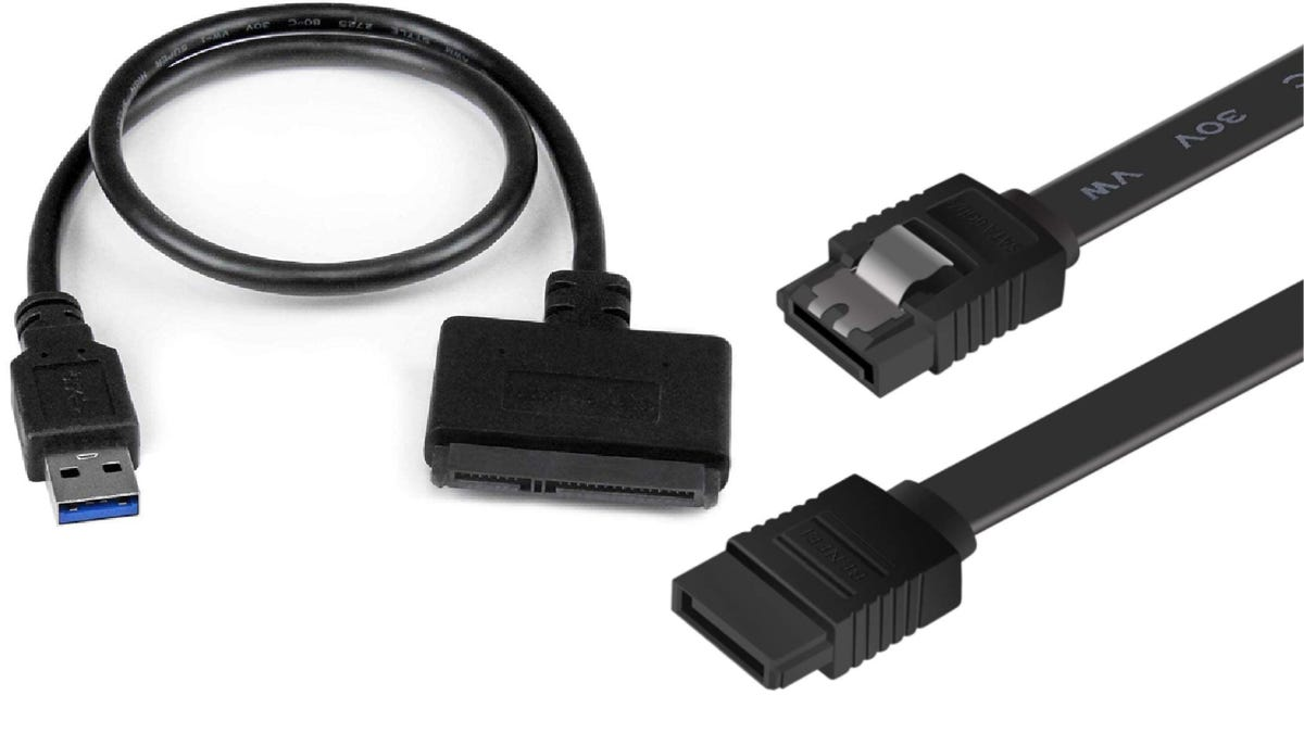 two different black SATA cables side by side
