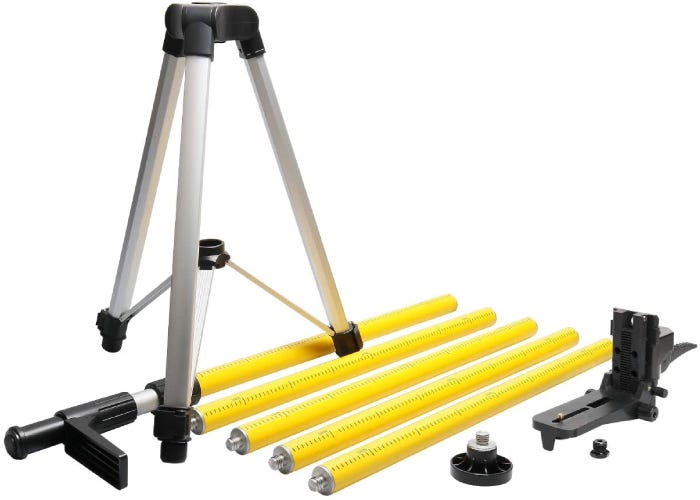 silver laser tripod with assorted accessories