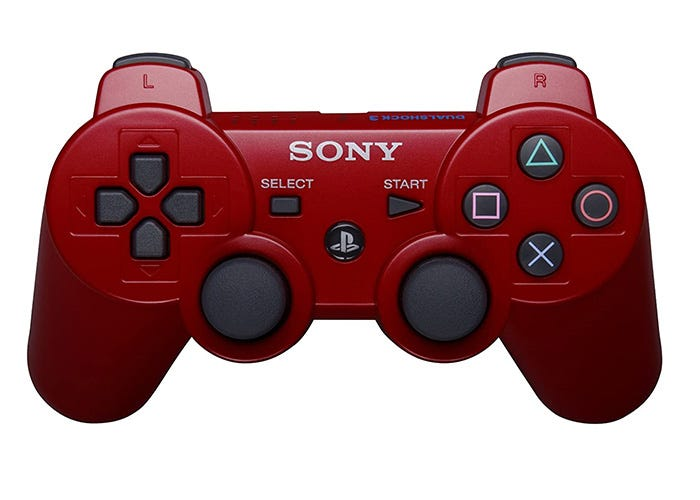 wireless red PS3 controller