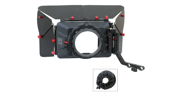 black matte box with one top and two side shields and a removable black fabric lens cover