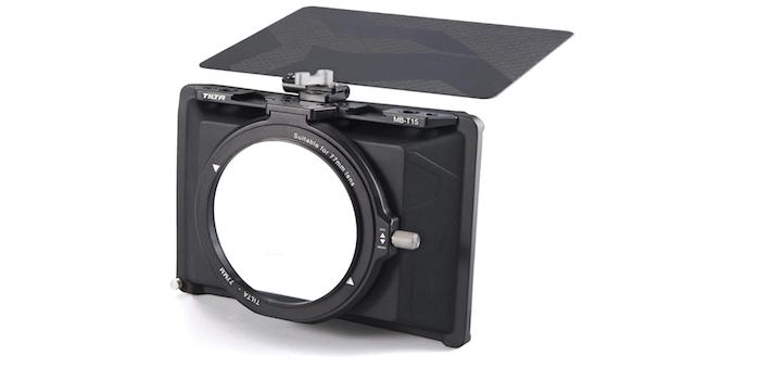 black matte box designed to fit over a DSLR camera