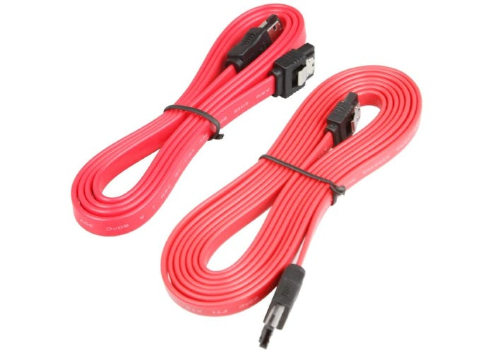 two coiled and tied pale red eSATA cables with black heads