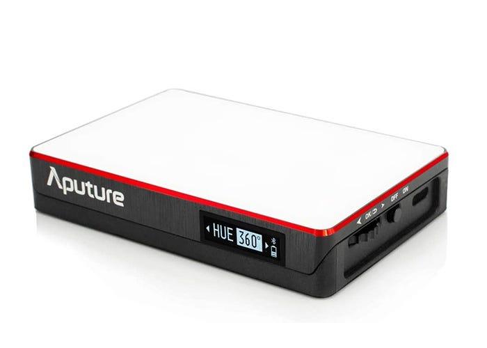 rectangular gray, red, and white box-shaped LED panel light