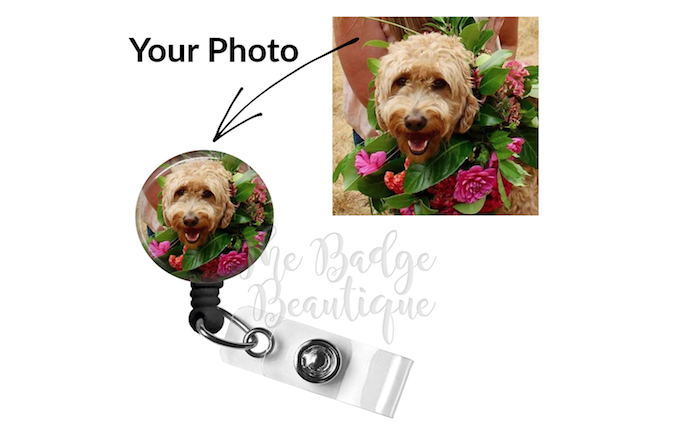 round badge reel with a custom photo of a dog