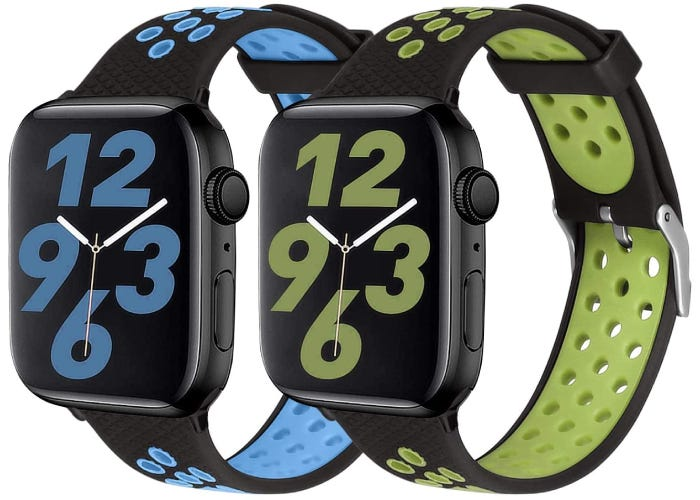two perforated black rubber Apple watch straps, one with blue accents and one with lighter green accents