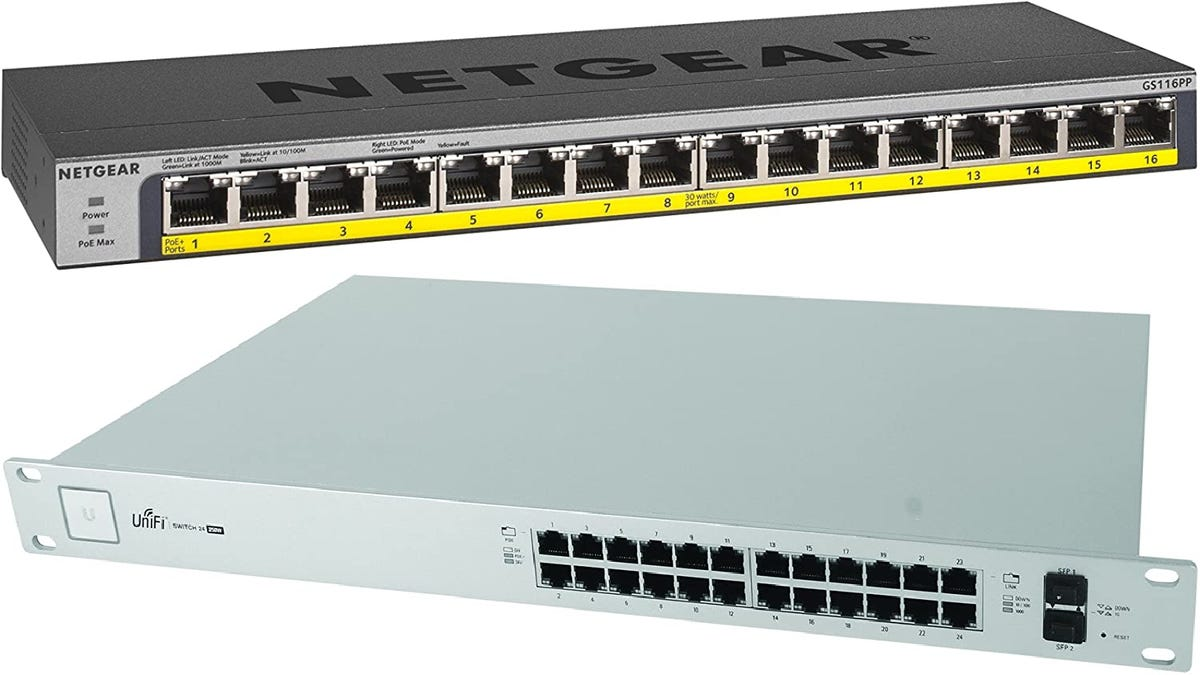 two PoE switches, one gray and one pale blue-green