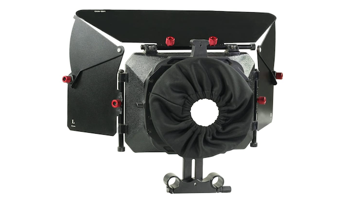 black matte box with a top and two side shields and a fabric lense cover