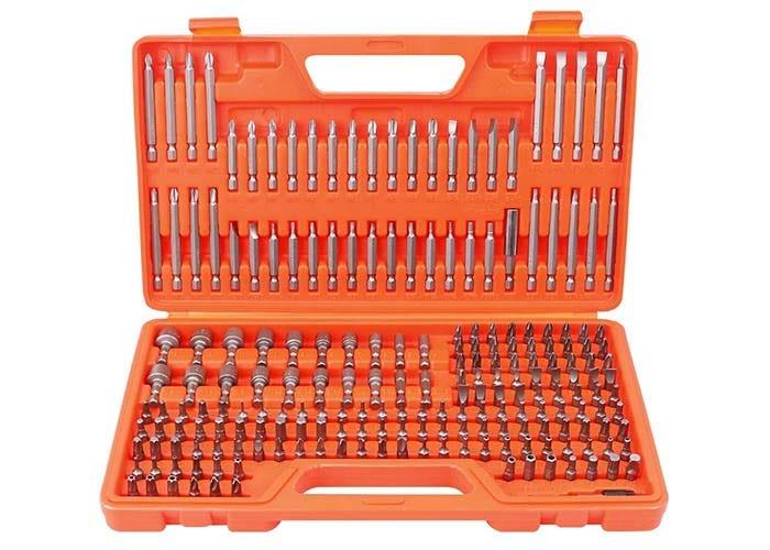 plastic orange box of numerous, assorted security bits