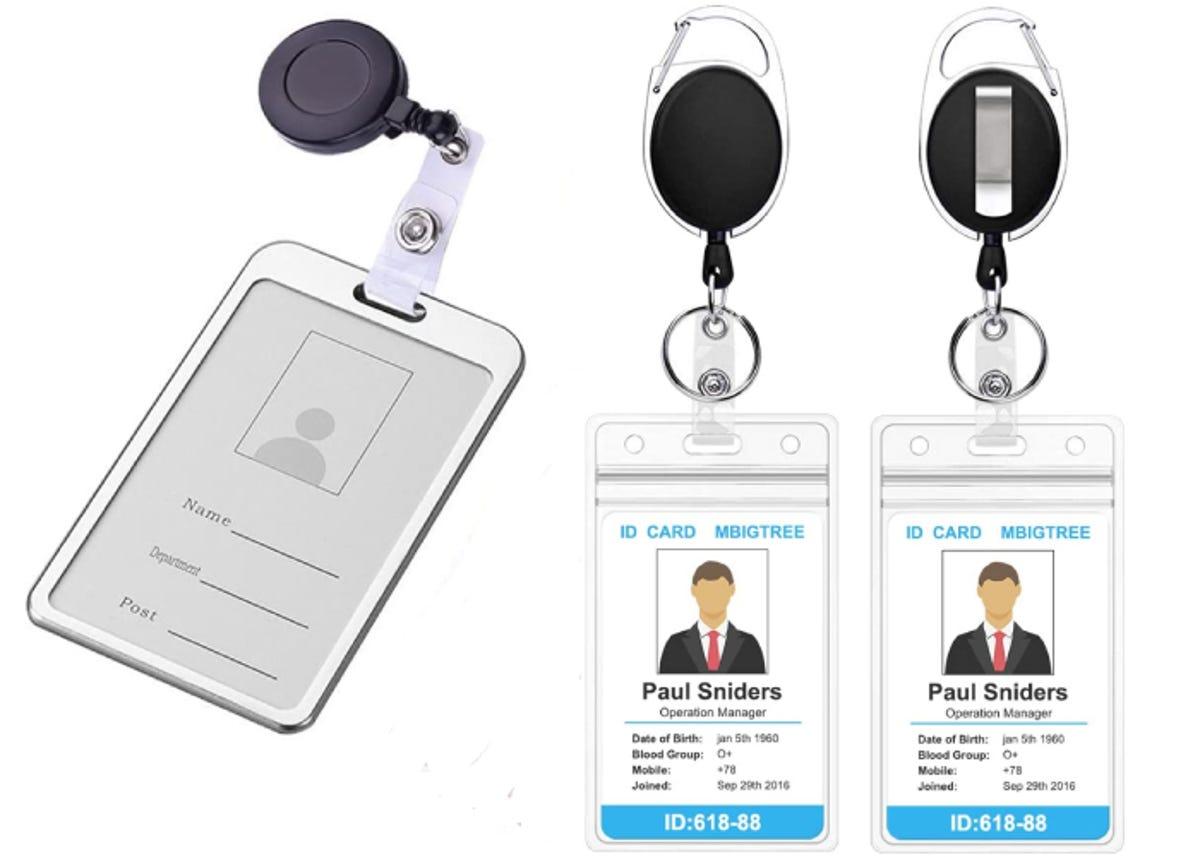 three badge reels side by side