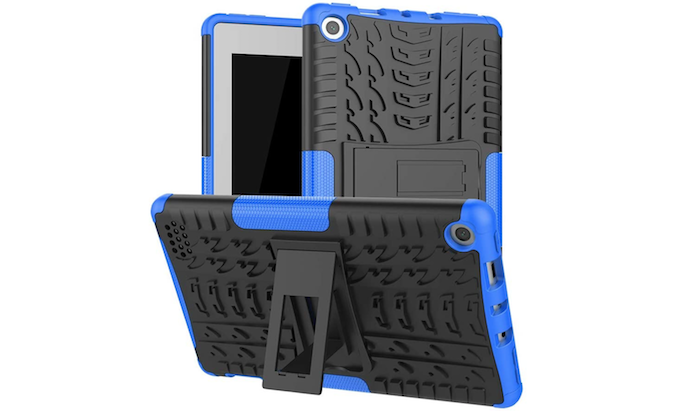 textured gray Amazon Fire 7 case with a built-in stand and blue acents