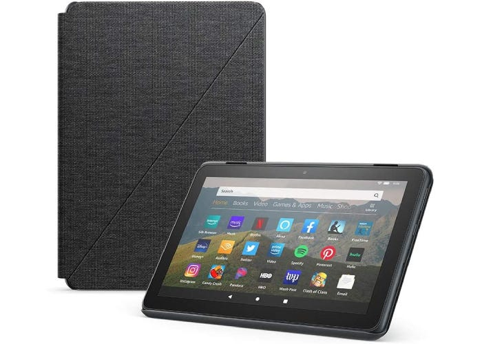 dark gray fabric Amazon Fire HD 8 case beside a device