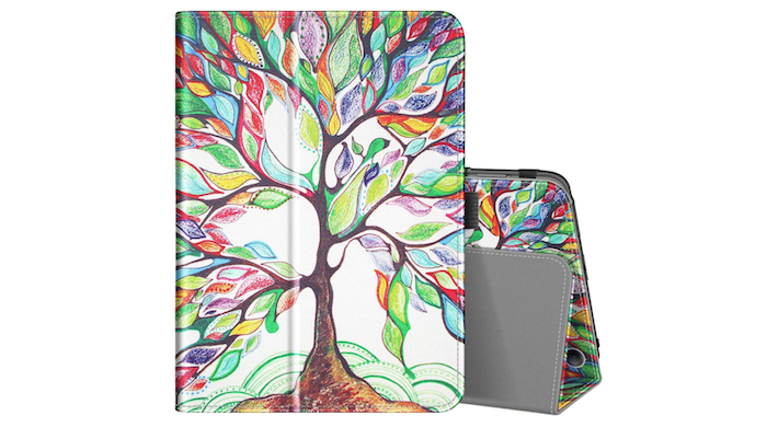 Amazon Fire HD 8 case decorated with the drawing of a tree with multicolored leaves