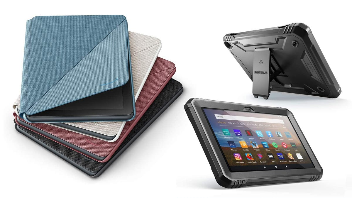 three stacked Amazon Fire HD 8 cases beside two Amazon Fire HD 8 tablets