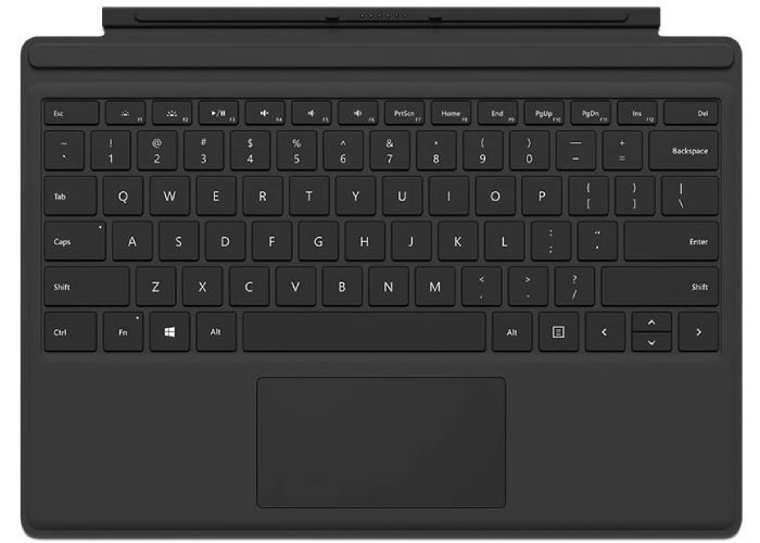 black Microsoft Surface Pro type cover