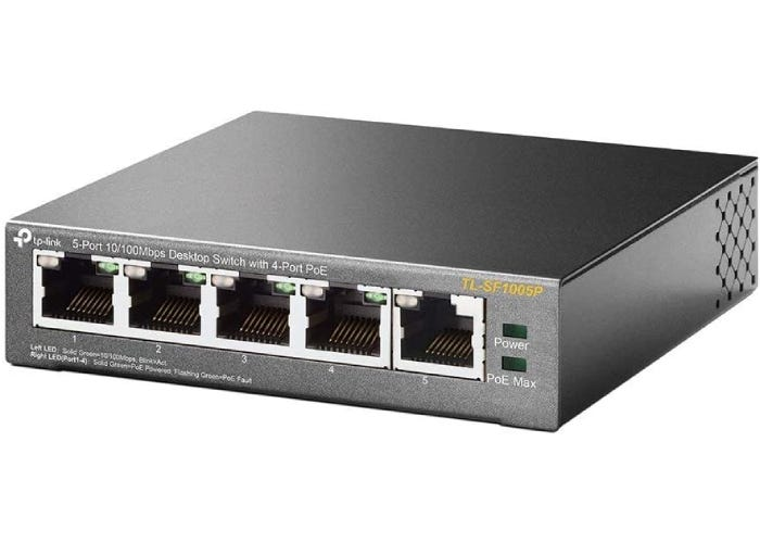 compact gray PoE switch with five ports