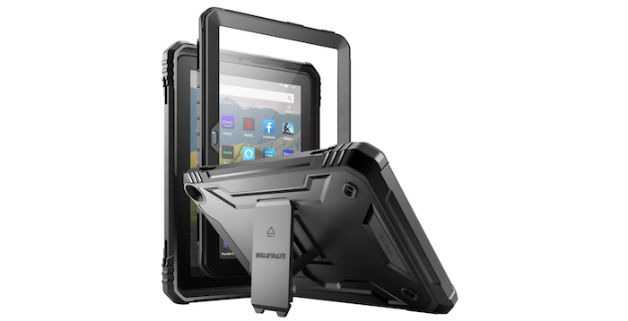 clear, black framed Amazon Fire HD 8 case covering one device and sitting beside another