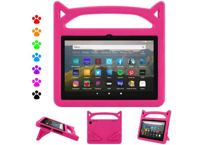 pink plastic Amazon Fire HD 8 case shaped with cat ears