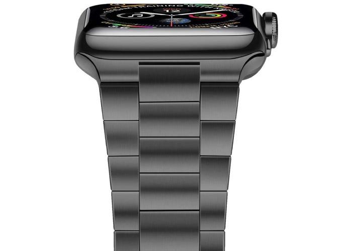 classic gray metal Apple watch strap