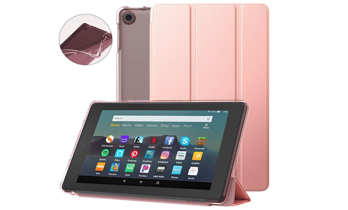 pink leather Amazon Fire 7 case displayed vertically and horizontally
