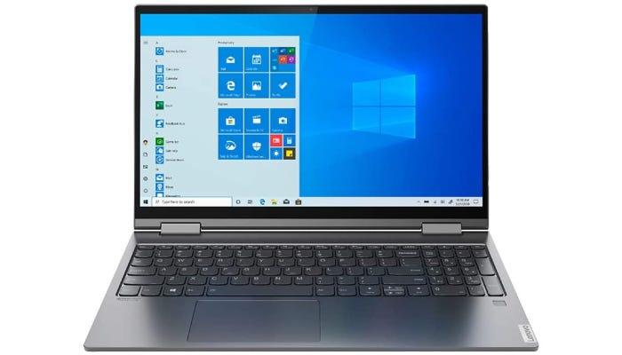 gray Lenovo laptop showing the home screen
