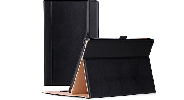 black leather Amazon Fire 7 with a built-in stand
