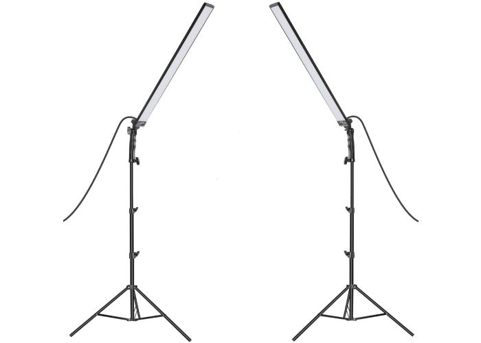 two long thin LED panel lights mounted on tripods