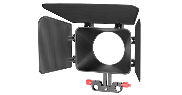 black matte box with one top and two side shields