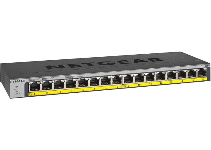 long, short gray PoE switch with a yellow stripe base